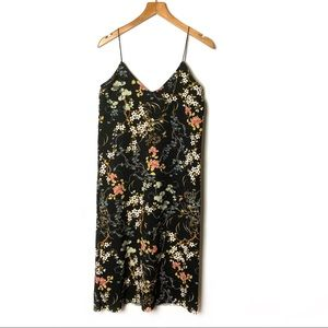 PULL&BEAR Black Floral Spaghetti Strap Dress
